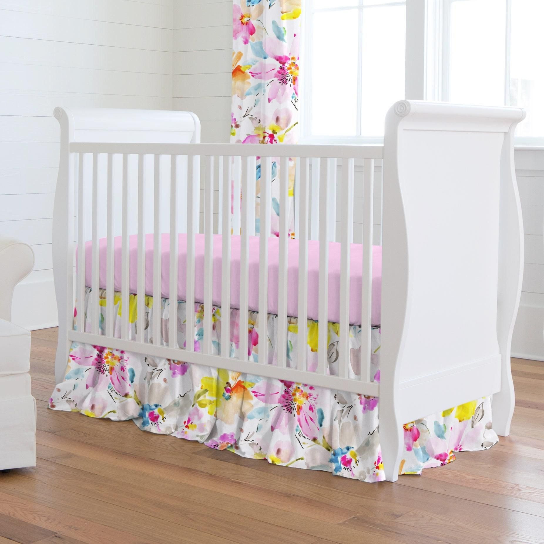 Crib Dust Ruffle in Watercolor Floral by Carousel Designs