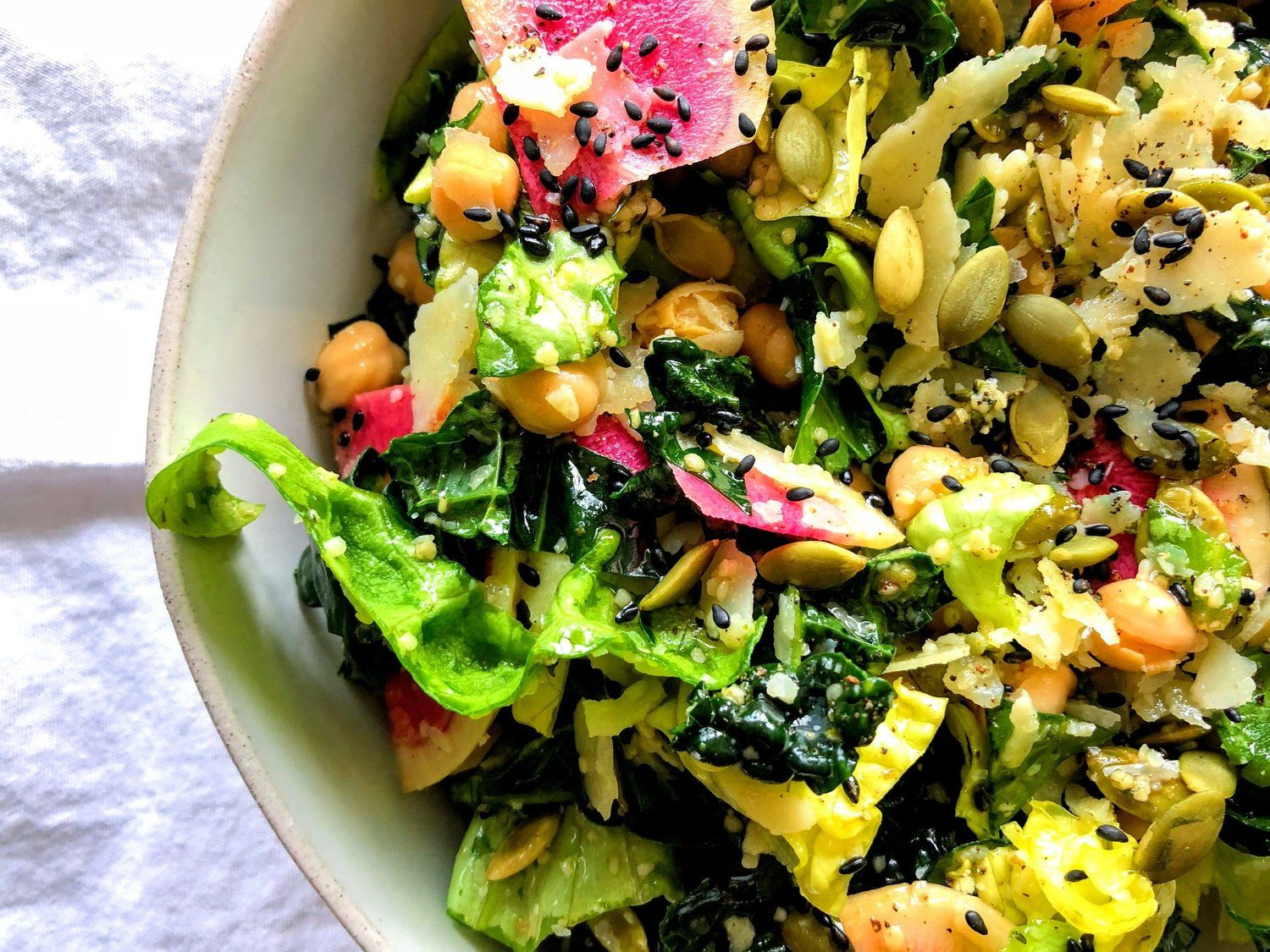 Kale + Soft Lettuce Salad with Chickpeas, Radishes, Parm ...