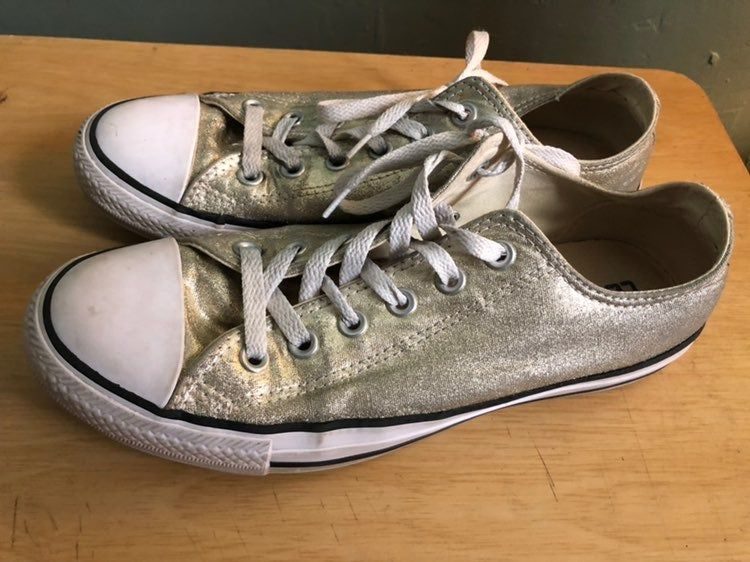 Sparkly silver converse shoes women's