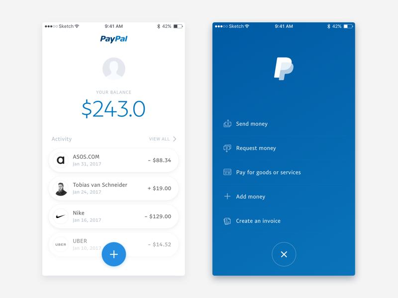 PayPal App Redesign App, Mobile app design, Money activities