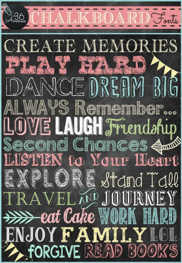 The 36th Avenue Chalkboard Fonts And Free Printable Free Chalkboard Fonts Chalkboard Fonts Lettering Fonts