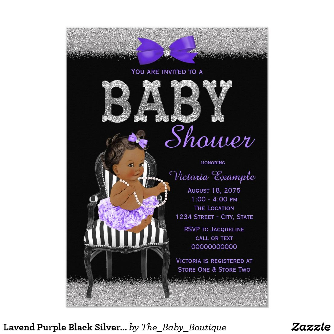 baby shower bbq invitation templates%0A Lavend Purple Black Silver Ethnic Girl Baby Shower Card