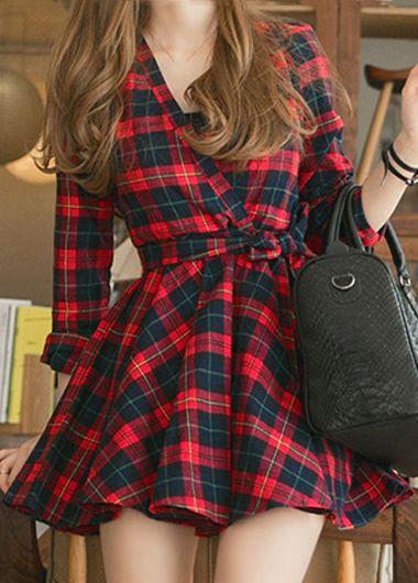 V Neck Plaid Dress