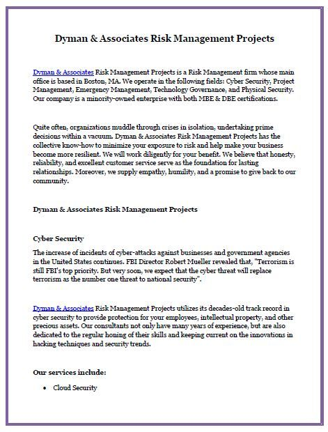 Dyman Associates Risk Management Projects Is A Risk Management Firm Whose Main Office Is Based In B Risk Management Emergency Management Business Development