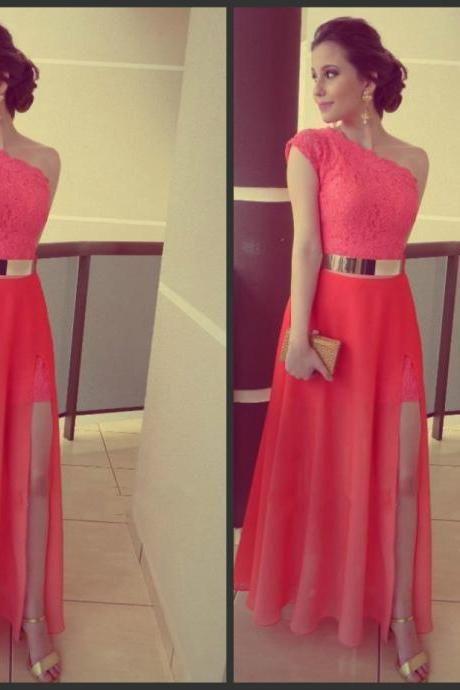 Lace One Shoulder Side Slit Gold Belt Evening Dresses,Fromal Evening ...