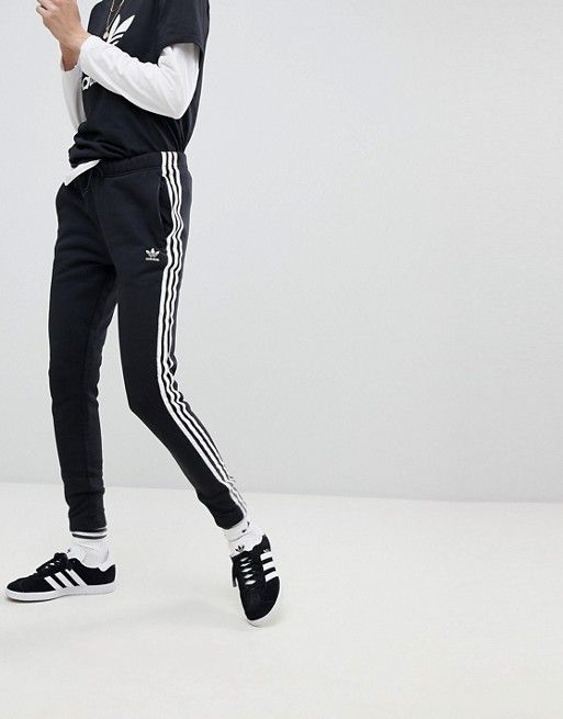 b229c54b1caf adidas Originals adicolor Three Stripe Regular Fit Cuffed Track Pants In  Black