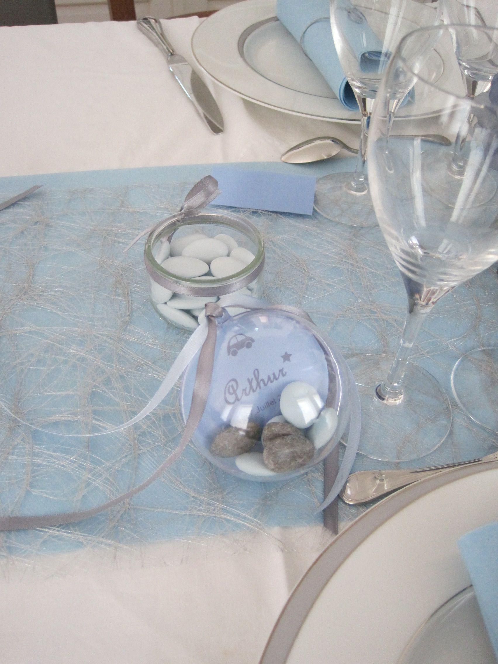 Drag es bapt me th me voiture gris bleu id es anni for Decoration bapteme bleu