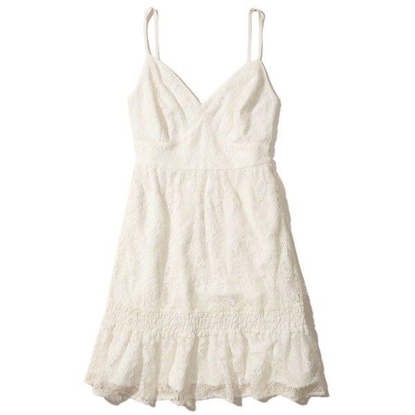 5e9fd1bdd44 Hollister Ruffle Hem Lace Dress ( 40) ❤ liked on Polyvore featuring dresses