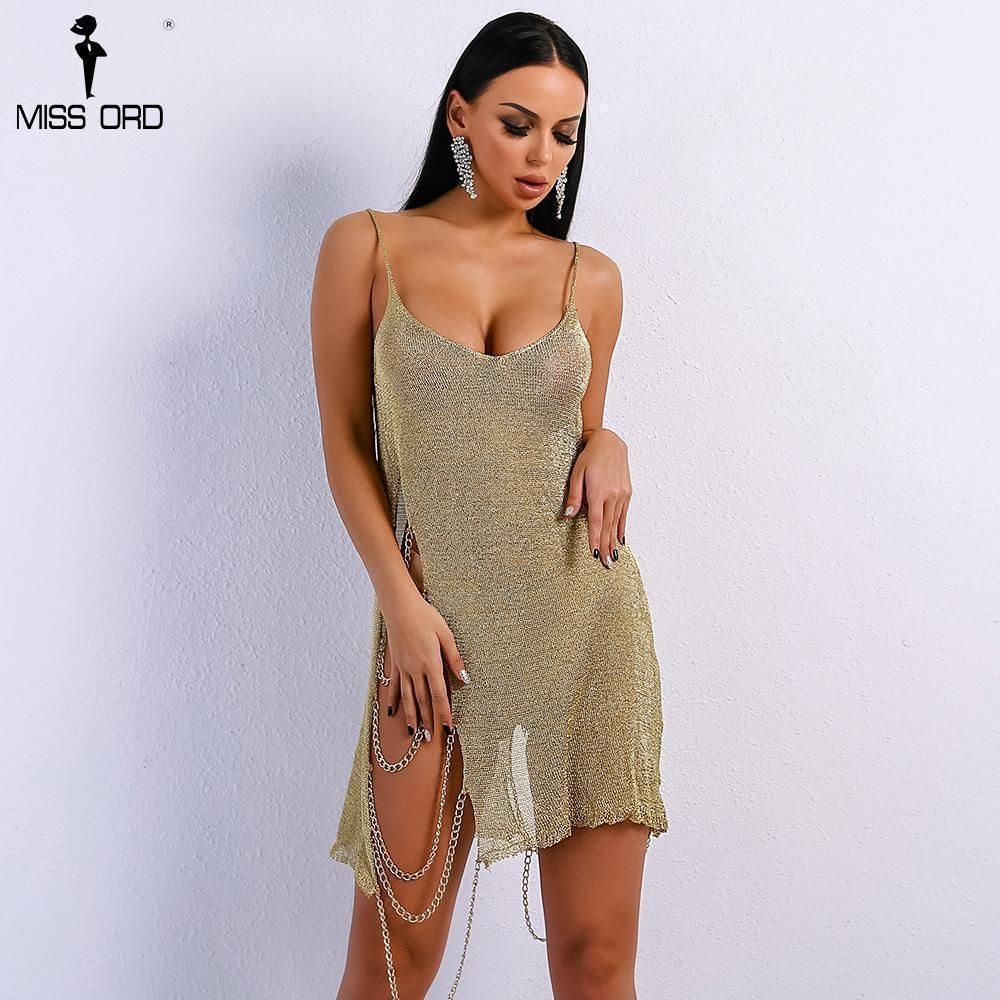 Summer sexy off shoulder gold chain dress squisitoapparel