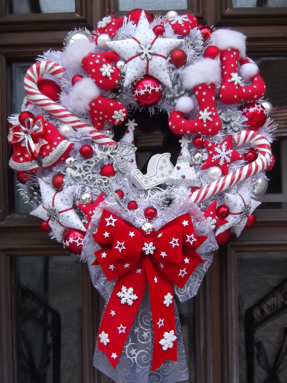 t rkranz weihnachten weihnachtskranz rot wei silber tilda art ebay door wreath christmas. Black Bedroom Furniture Sets. Home Design Ideas