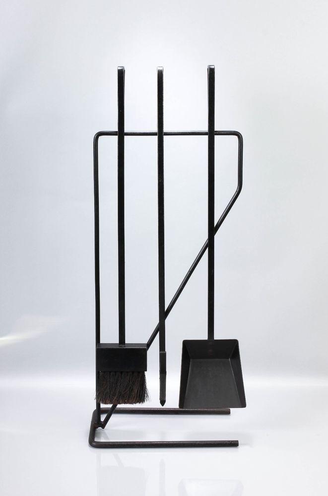 Vintage Modernist Firetools Mid Century Style Fireplace Tools Set Wrought  Iron