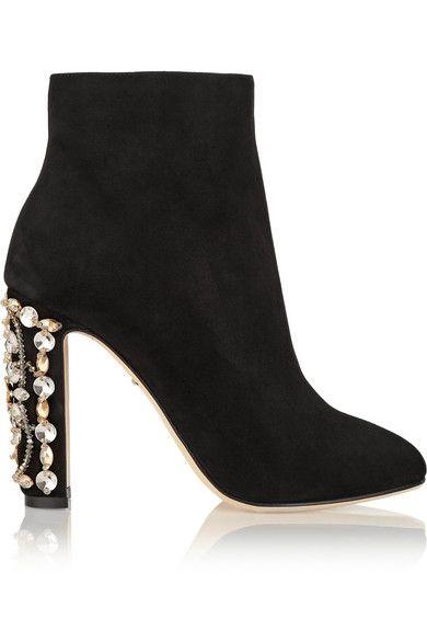 Dolce Gabbana crystal embellished suede boots | Botín de ante negro con pedrería en el tacón de Dolce & Gabanna