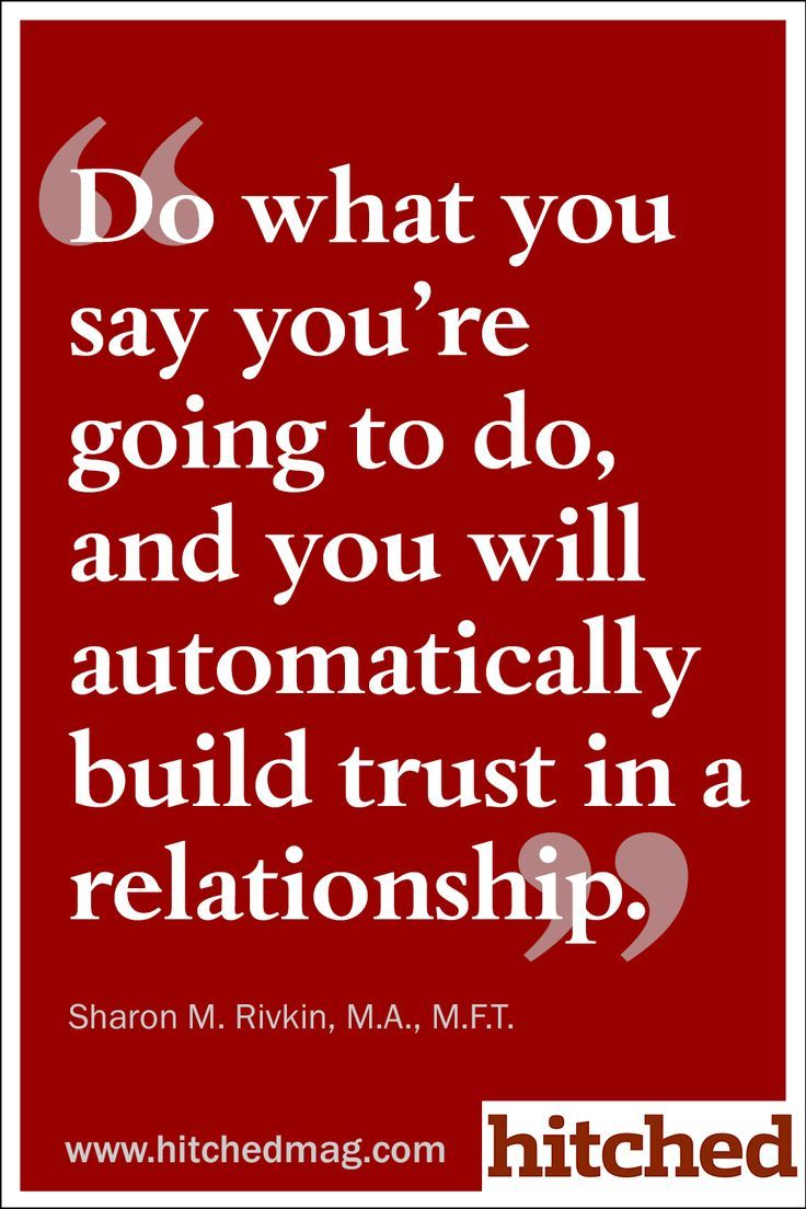 Re establishing trust in a relationship