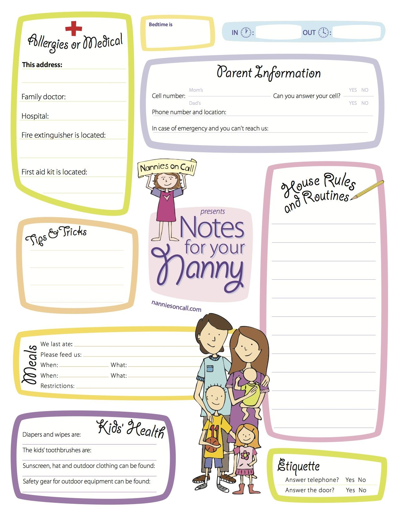 be a stand out nanny by filling out this form outlining what you notes for your nanny is a great way to let your nanny or babysitter know important