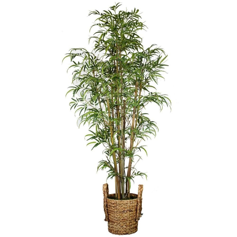 6 Ft Tall Realistic Silk Bamboo Tree With Wicker Basket Planter Gray Bamboo Tree Basket Planters Bamboo Silk