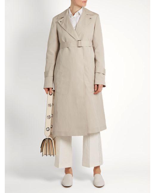 310bbcbd331 Calvin Klein | Natural Peak-lapel Long Silk-blend Coat | Lyst