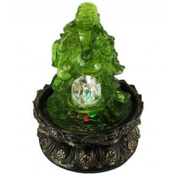 Lucky Buddha Led Indoor Tabletop Water Fountain With Crystal Ball