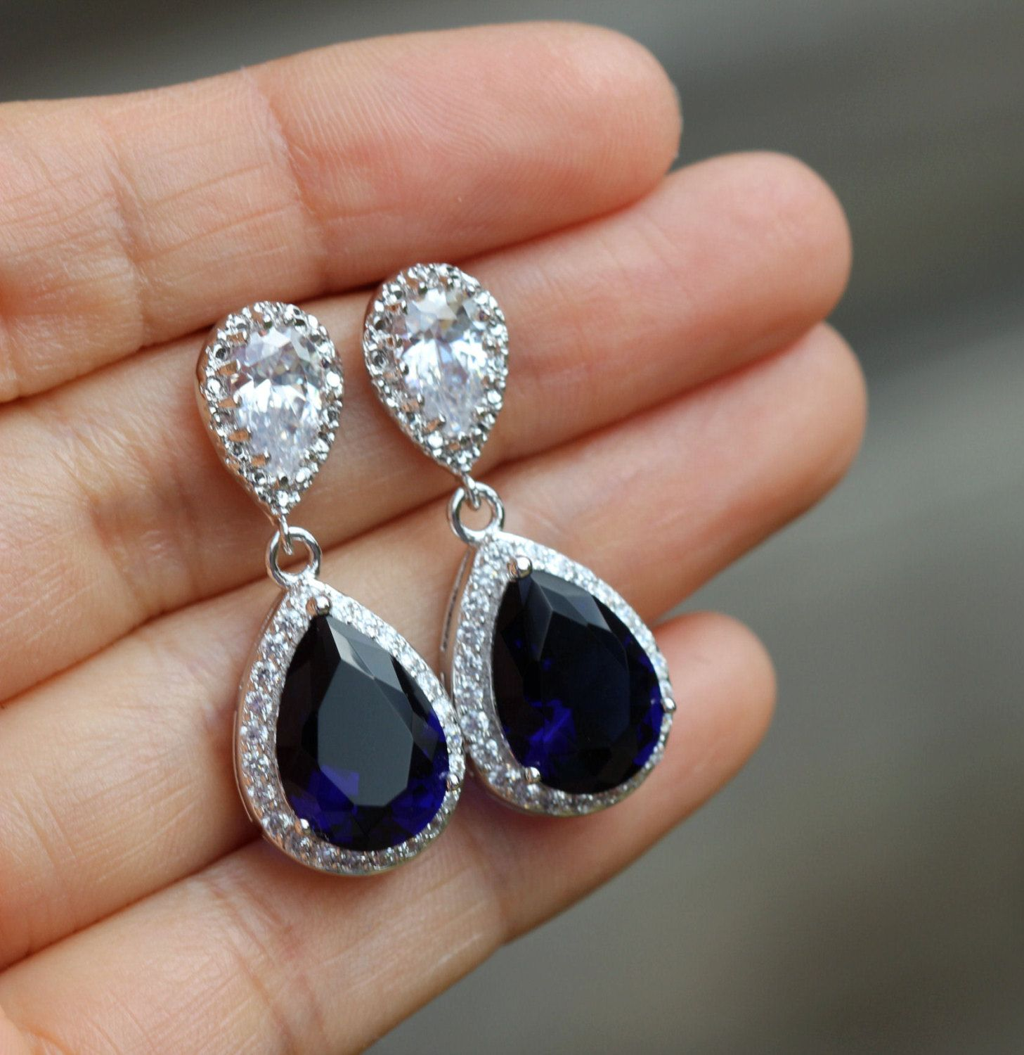 Something blue wedding jewelry post sapphire blue earring blue
