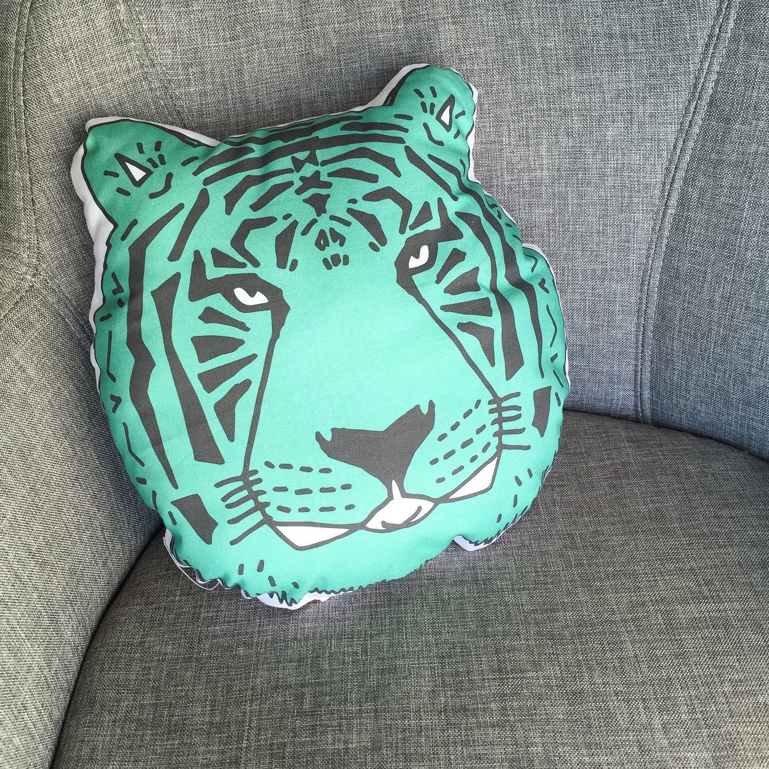 Our super fun and cool jade tiger pillow! Perfect for modern nurseries, modern kid rooms, and even for grownup decor. By ModFox on Etsy