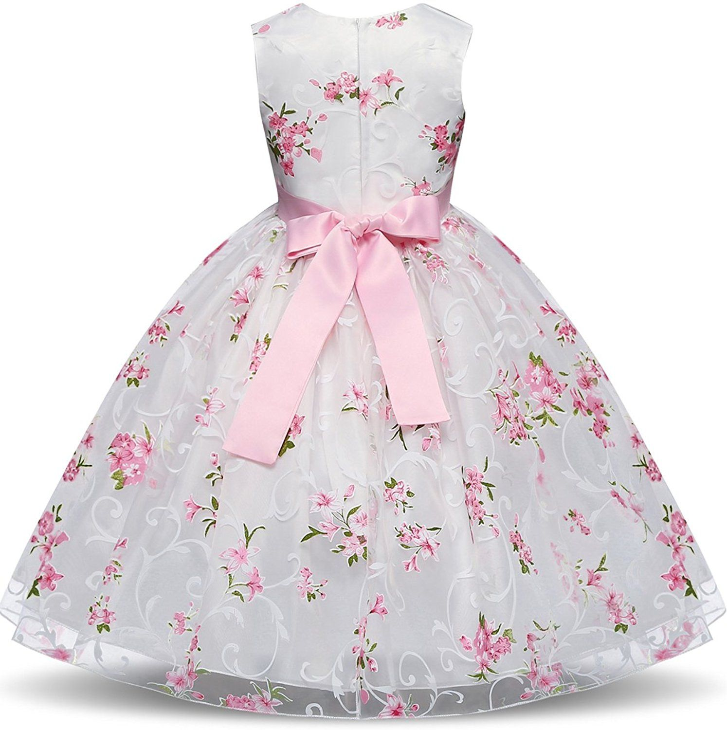 8af48d57080e Amazon.com  NNJXD Girl Pageant Flowers Printed Sleeveless Tulle ...