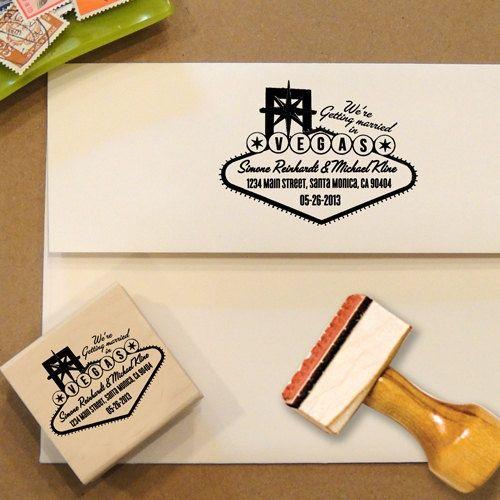 Las Vegas Wedding Gifts: Las Vegas Stamp, Address Stamp, Return Address Stamp, Save