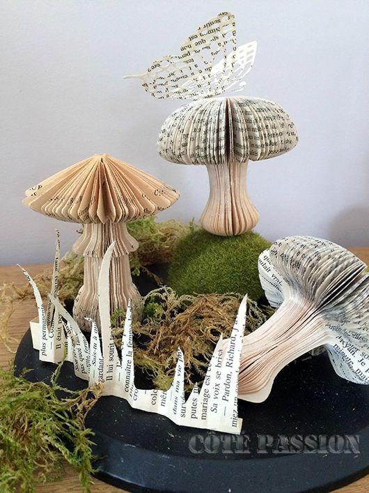 de vieux livres en champignons r cup 39 art upcycling pinterest cut passion et pliage. Black Bedroom Furniture Sets. Home Design Ideas