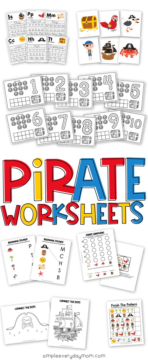 Pirate Worksheets For Kids Worksheets For Kids Flashcards For Kids Kids Learning [ 1473 x 600 Pixel ]