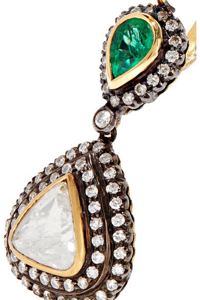 18-karat Gold, Sterling Silver, Diamond And Emerald Earrings - one size Amrapali