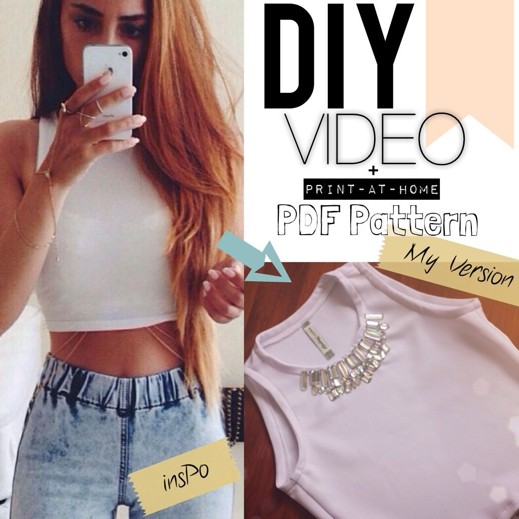 DIY Basic CROP TOP with sew on beads! \