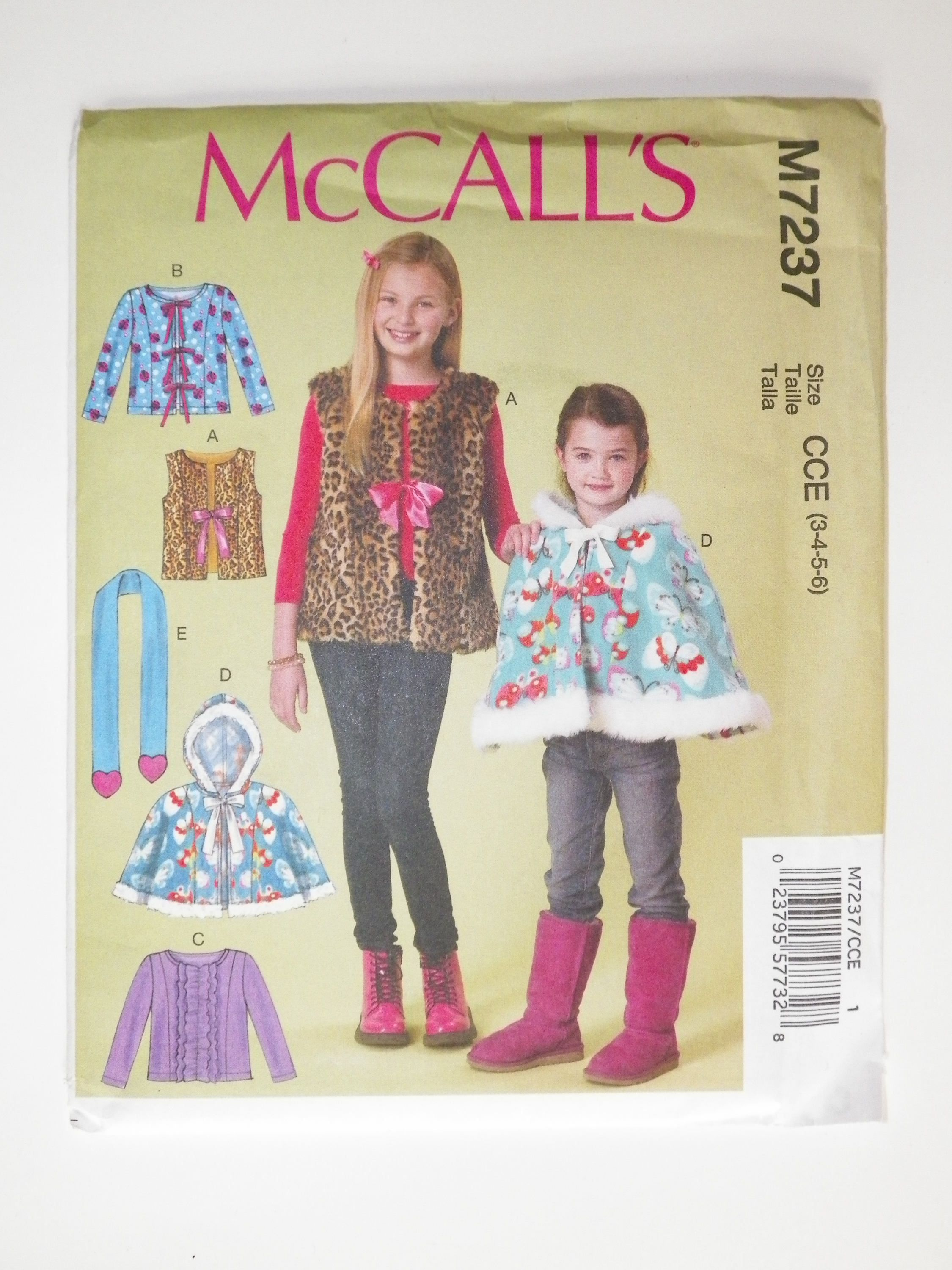 6e9aceea4a213 20% SALE Girls    Child s Sewing Pattern Jacket Vest Cape Scarf McCall s  M7237 UNCUT Sizes 3-4-5-6 Chldren s Fall And Winter Wear by  SKRSewingSupplies on ...