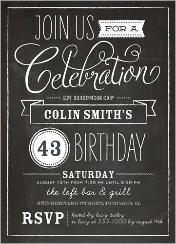 Chalkboard Wishes Birthday Invitation Chalkboards, Shutterfly - chalk board invitation template
