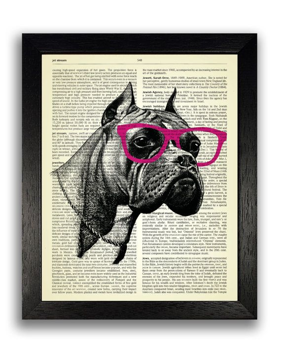 Boxer Dog in Pink Geek Glasses Dictionary Art Print, Geekery Dog ...