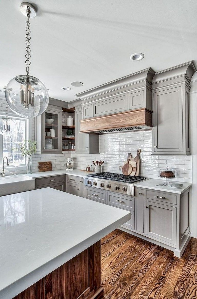 Easy Design for Farmhouse Gray Kitchen Cabinets Ideas ...