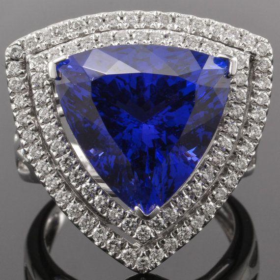 14 k tanzanita anillo ct 12 billones triángulo cortado doble ...