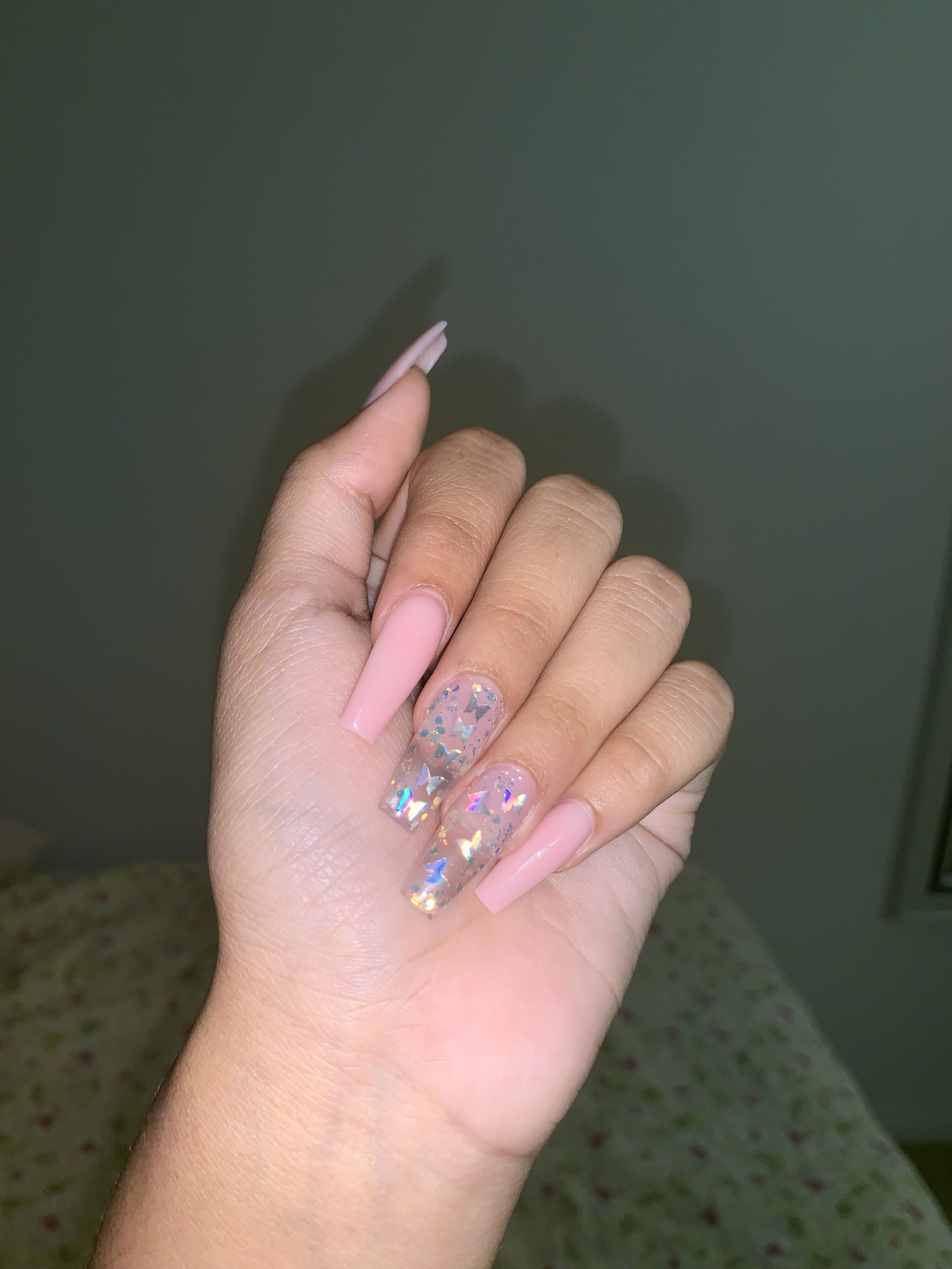 Butterfly Nails Pink Nails Coffin Nails Designs Pink Acrylic Nails