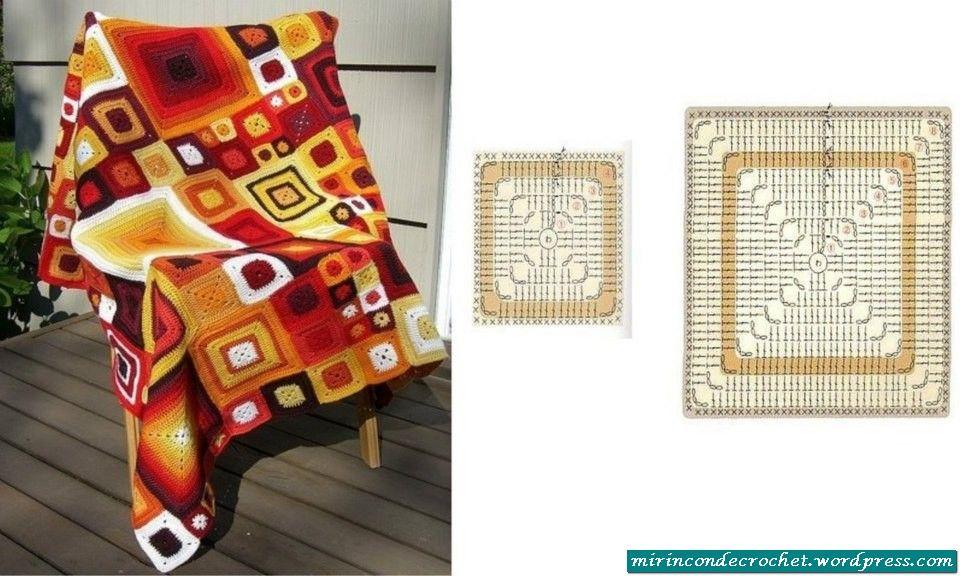 Tres mantas, una con hexágonos, otra con cuadrados y la ultima en ...