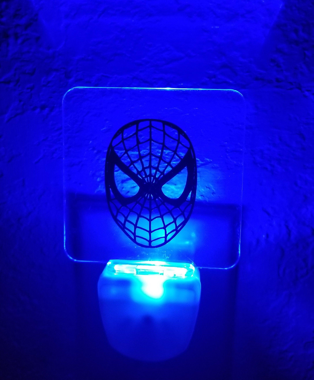 Spider Man Custom Acrylic Blue Led Plug In Night Light Night
