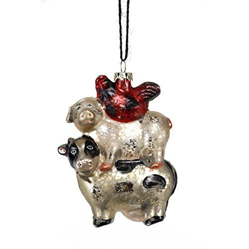 Sage & Co. Antiqued Glass Cow Pig Hen Ornaments