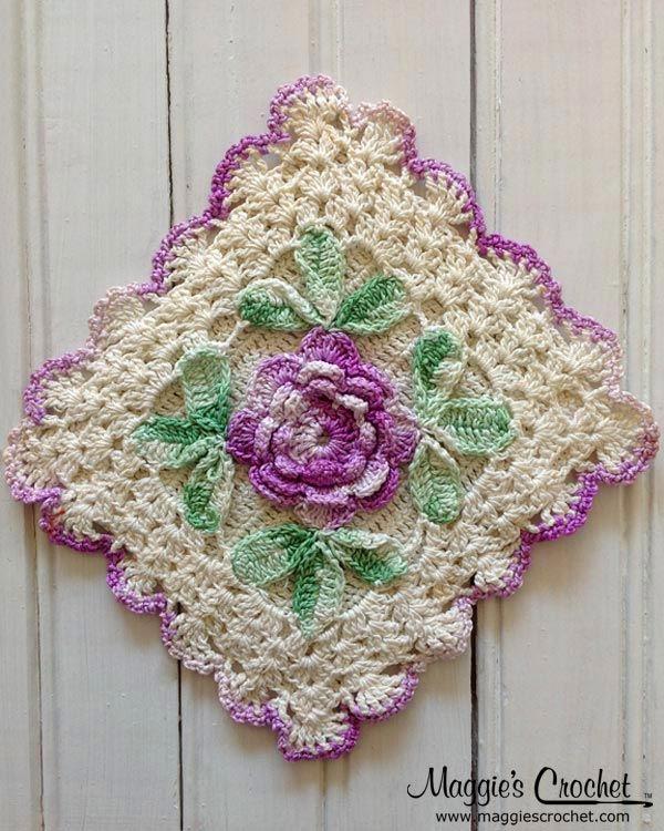 flower embellished vintage crochet potholders h keln pinterest topflappen h keldecke und. Black Bedroom Furniture Sets. Home Design Ideas