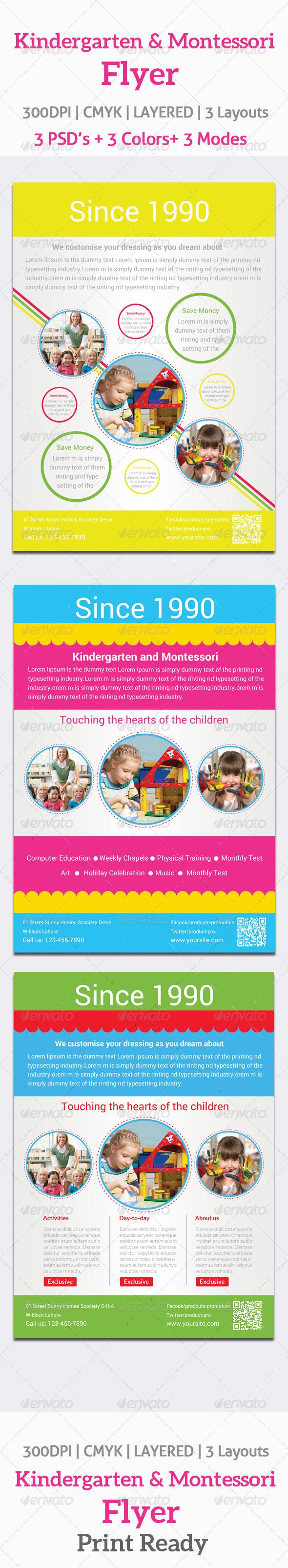 Kindergarten and Montessori Flyer Template #GraphicRiver   Print ...