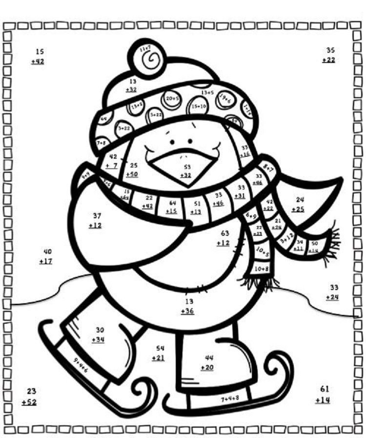 Winter Coloring Pages And Puzzles Christmas math
