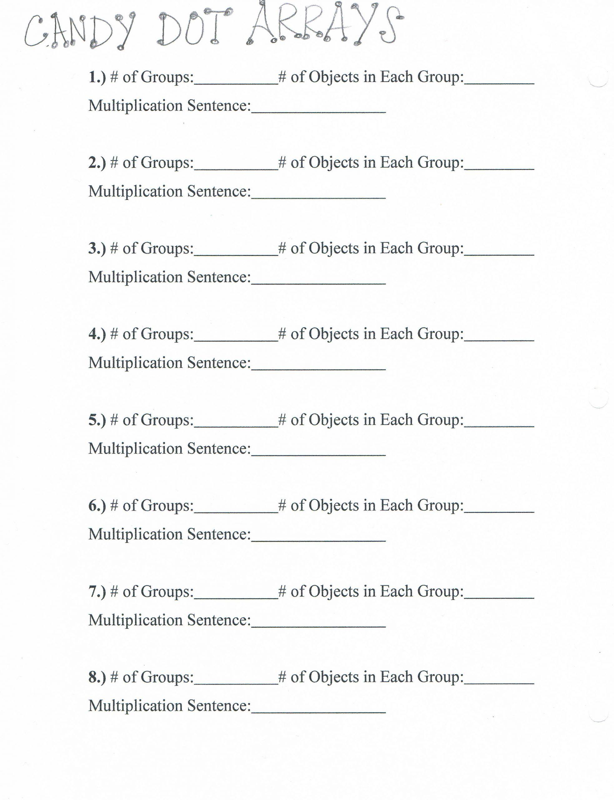 Arrays Worksheets Grade 2 In
