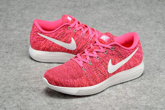 fdf99d830984 Youth Big Boys Nike LunarEpic Low Flyknit Pink Fire Hyper Pink White 843765  601