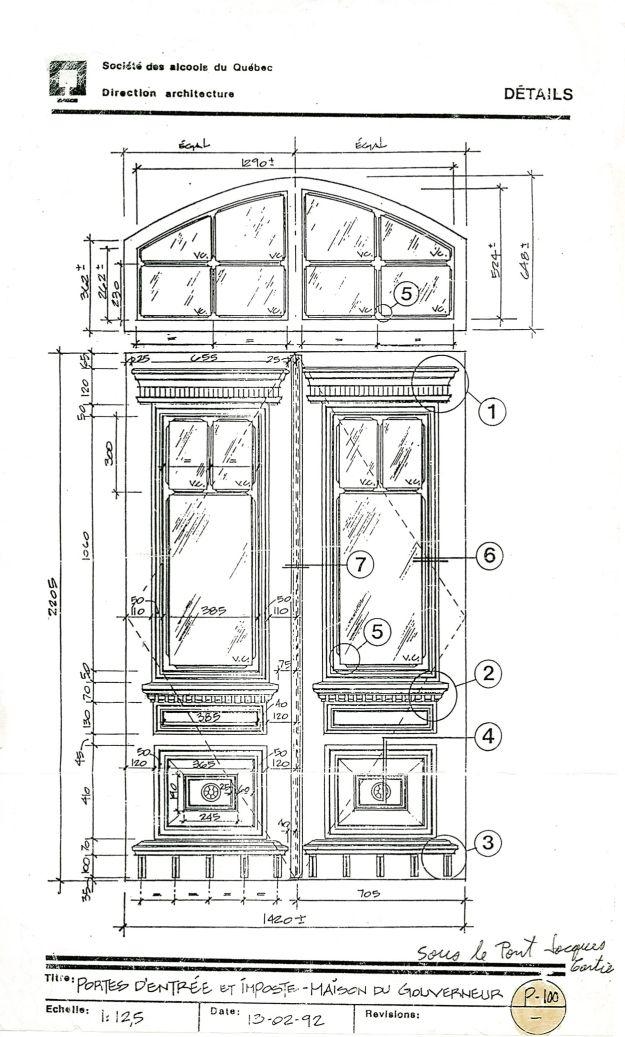 Dessin Porte Maison : Dessin technique de la porte maison du gourverneur