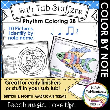 Rhythm Coloring 2B- Color by Note Name - Half Note ...