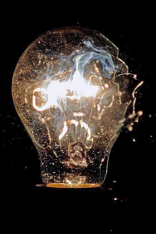 Broken Lightbulb With Smoke Inside Light Bulb Art Slow