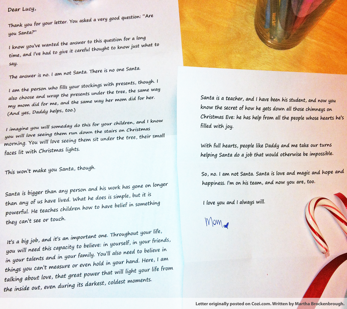 The truth about Santa Love this letter and will keep it