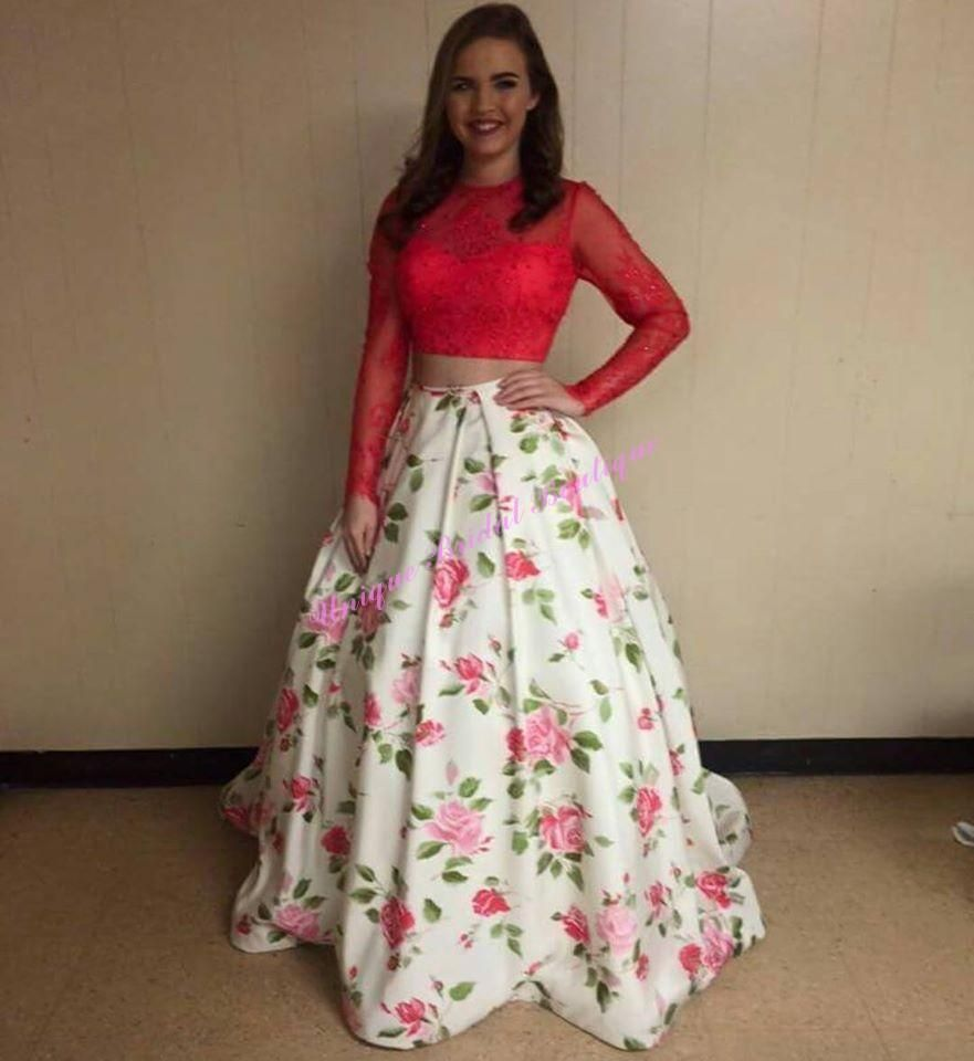 two pieces prom dresses with long sleeves and print floral real