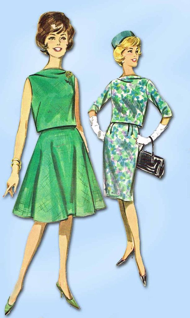 "Butterick Pattern 2104 Misses' Cocktail Dress and Jacket Pattern Dated 1962 Factory Folded and Unused Very Nice Condition Overall Size 12 (32"" Bust) We Sell the Best Original Vintage Sewing Patterns a"