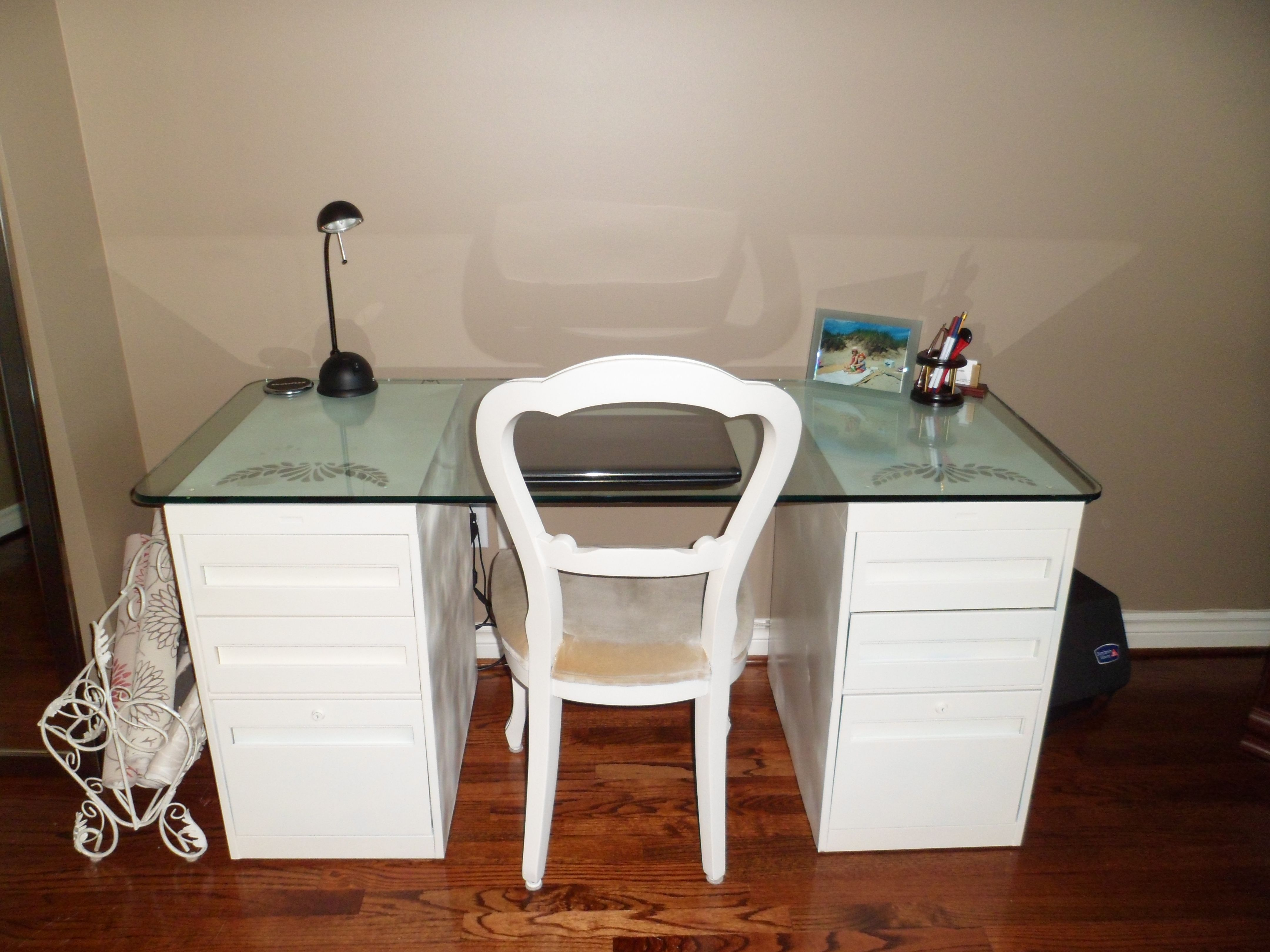 I Created This Desk By Painting 2 Old Steel Filing Cabinets And